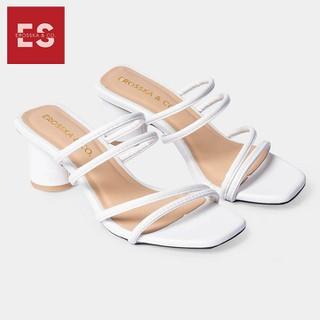 De p cao go t Erosska thời trang mu i vuông phô i dây quai ma nh cao 5cm màu trắng EM038 - EM038WH thumbnail