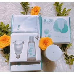 Cốc nguyệt san Beucup tặng kèm 1gel vệ sinh cốc + cốc tiệt trùng+ túi vải ( hàng chính hãng công ty)
