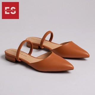 Giày đế bệt Erosska thời trang mũi nhọn hở gót phối dây quai mảnh tinh tế cao 2cm màu vàng bò EL002 - EL002BR thumbnail