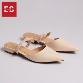 Giày đế bệt Erosska thời trang mũi nhọn hở gót phối dây quai mảnh tinh tế cao 2cm màu nude EL002 - EL002NU thumbnail