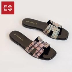 Dép nữ thời trang Erosska quai ngang chữ H kiểu dáng đơn giản cao 2cm màu đen GDE002