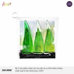 Bộ 3 sản phẩm chăm sóc da mặt và cơ thể Holika Holika chiết xuất lô hội 55ml/chai