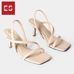 Giày sandal cao gót Erosska thời trang kiểu dáng basic phối dây mảnh cao 7cm màu kem GEB022