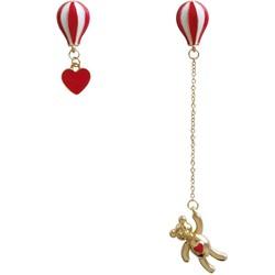Khuyên tai gấu và trái tim bất đối xứng khinh khí cầu màu đỏ H421