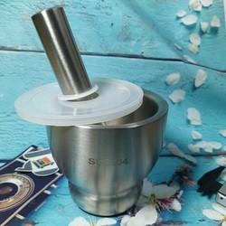 Bộ CỐI CHÀY INOX SUS 304 h`BẦU có NẮP. Dụng cụ nhà bếp Chày giã nghiền thực phẩm tỏi tiêu ĐA NĂNG Chày cối là dụng cụ thiết yếu mọi gia đình và Nhà hàng
