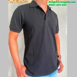 Áo thun cá sấu trơn dùng cho đồng phục quán - Màu đen, vải cá sấu 65/35 4 chiều - Đồng phục Song Phú