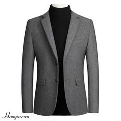 Áo blazer dạ lông cừu nam 2 khuy phong cách Âu Mỹ
