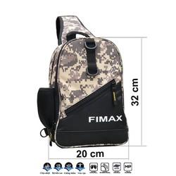 Túi đeo chéo đựng đồ câu cá 2 ngăn FIMAX loại lớn 20x10x32cm, túi đựng phụ kiện câu cá, túi đeo chéo trước ngực đi phượt đi chơi chống thấm, túi đeo chéo nam đa năng