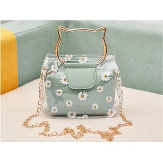 Túi xách trong suốt họa tiết hình hoa cúc - TX039 thumbnail