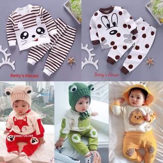 [SIÊU XẢ] Set 2 bộ dài tay thun cotton 4 chiều ngẫu nhiên - Quần áo trẻ em - 2 bo dai 4 chieu thumbnail