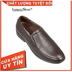 Giày Tây Nam Da Bò Cao Cấp [HÌNH THẬT, ĐƯỢC ĐỔI SIZE, BẢO HÀNH CHÍNH HÃNG 12 THÁNG], giày tây nam công sở không dây với thiết kế lịch lãm, sang trọng  LAMHUNGKF2687, nâu
