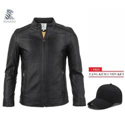 [Freeship] Siêu Phẩm Áo khoác da nam lót lông cừu thời trang cao cấp Bonado AK226 + Tặng nón