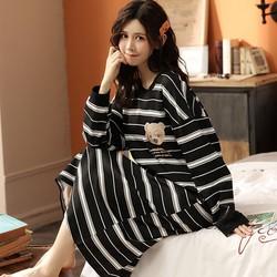 Váy Ngủ Dài Tay Mùa Thu Đông Chất Cotton Mềm Mịn Mặc Xinh Dễ Thương