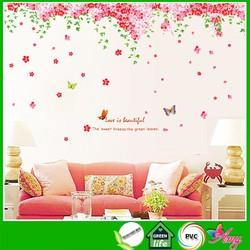 Decal dán tường hoa đào [FREESHIP TOÀN QUỐC] hạnh phúc trang trí phòng cưới, phòng ngủ sáng tạo có keo sẵn AmyShop