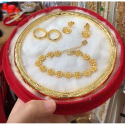 Bộ trang sức cưới màu vàng 24 cao cấp 5 món đẹp y hình