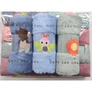 Khăn lông cừu siêu mềm mại có hình thêu xuất Hàn 35x75cm (Bộ 2 khăn ) - KL-09 thumbnail