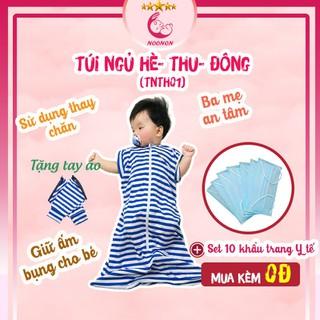 Túi Ngủ Cho Bé Hè Thu NOONON – Mã TNHT01- Chăn Hè Cho Bé Ngủ Ngon - Vải Cotton Co Giãn 4 Chiều (Tặng 10 Khẩu Trang Y Tế)
