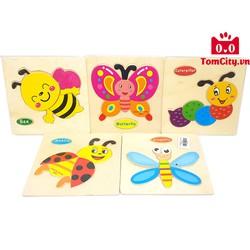 Montessori  Bộ đồ chơi bảng gỗ ghép hình trí tuệ cho bé - Chủ đề côn trùng