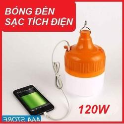 Bóng đèn tích điện, led siêu sáng 6h-8h, chống nước, móc treo, 3 chế độ sáng kèm dây sạc - Loại 100W