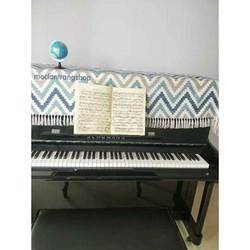 Khăn phủ đàn piano cơ, điện họa tiết kẻ phong cách Bắc Âu. Khăn phủ phím đàn, khăn phủ ghế đàn chống bụi