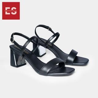 Giày sandal cao gót thời trang nữ Erosska mũi vuông phối quai ngang đơn giản cao 7cm màu đen CS005 - CS005BA thumbnail