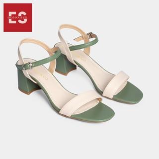 Giày sandal cao gót thời trang nữ Erosska mũi vuông phối dây nhiều màu tinh tế cao 5cm màu kem phối xanh CS004 - CS004GE thumbnail