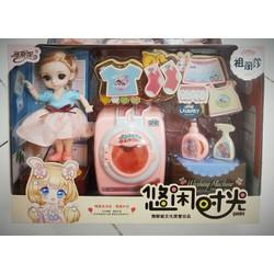 Bộ đồ chơi búp bê em bé Chibi xinh xắn chăm sóc nhà cửa và phụ kiện máy giặt, giá phơi, quần áo đáng yêu