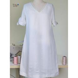 Đầm Trắng Suông Tay Nơ Tay Clothing