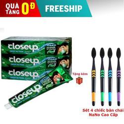 Combo 3 hộp Kem đánh răng Close Up Thái Lan tặng 4 bàn chải đánh răng than hoạt tính