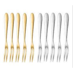 SET 5 CHIẾC NĨA (DĨA)INOX 304 DÙNG ĂN TRÁI CÂY BÁNH MỨT(có 2 loại màu vàng và bạc)