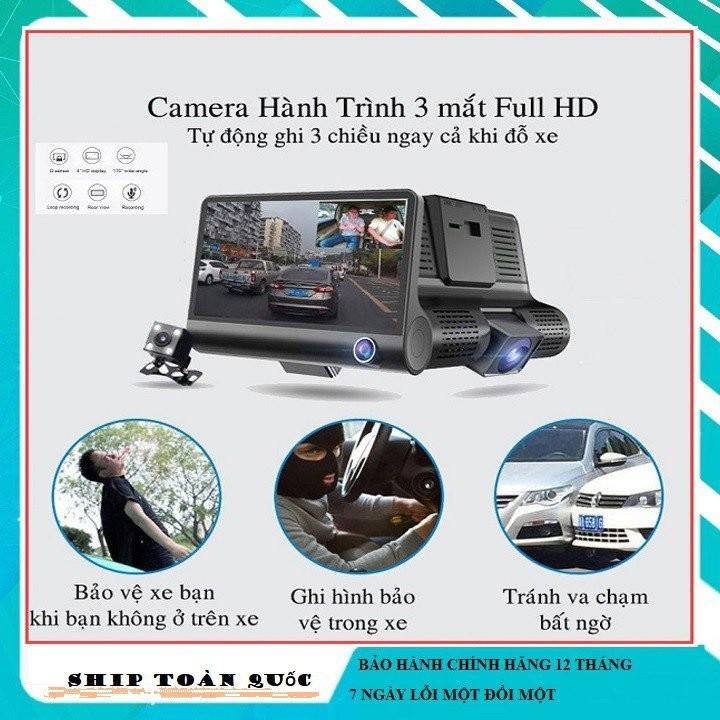 Camera hành trình ô tô 3 mắt camera, màn hình 4 inh full HD, ghi hình đa chiều