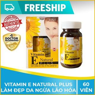 Vitamin E chiết xuất lô hội, hoa anh thảo, dầu gấc, vitamin A làm đẹp da - Hộp 60 viên - e60v thumbnail
