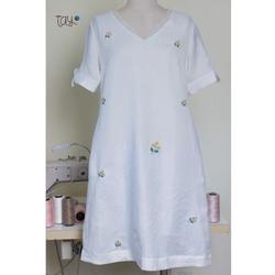 Đầm Trắng Nơ Thêu Hoa  Tay Clothing