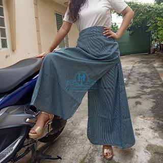 Váy Chống Nắng Xẻ Tà Kaki Vải Mềm, Mịn & Mát Họa Tiết Sọc Đen Trắng - VCNK001 thumbnail