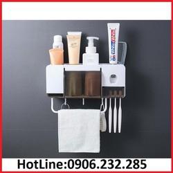Giá để cốc đánh răng, kèm nhả kem đánh răng tự động, chất liệu nhựa PP, kèm miếng dán tường, tặng kèm 2 cốc