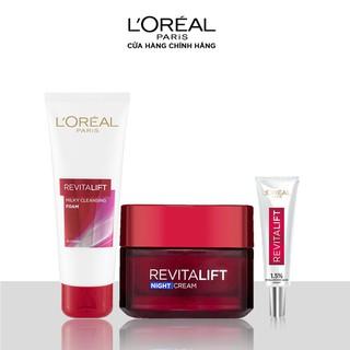 Bộ làm sạch,kem dưỡng chống lão hóa ban đêm và tinh chất cấp ẩm L Oreal Paris Revitalift (SRM RV 50ml,Kem đêm RV,HA 7.5ml) - TULP00640CB thumbnail
