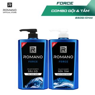Combo Dầu gội & Sữa tắm Romano Force cổ điển lịch lãm 650g/chai
