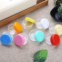 10 Hũ nhựa 3g 5g đáy tròn chiết mỹ phẩm nắp nhiều màu
