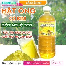 [COMBO] 1 LÍT Mật ong rừng hoa cỏ kim + 50g Tinh bột nghệ - Hỗ trợ giảm đau dạ dày, tăng cường hệ miễn dịch - dakbee