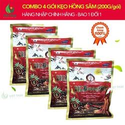 [SALE SẬP SÀN] Combo 4 Gói Kẹo Hồng Sâm Vitamin Hàn Quốc 200G Ngon Số 1