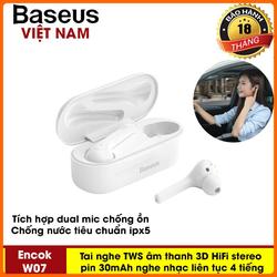 Tai nghe không dây hoàn toàn Baseus W07 TWS Bluetooth Stereo  Tai Nghe Nhét Tai Thể Thao , siêu Bass âm thanh 3D stereo Bluetooth 5.0 Tai Nghe Có tích hợp 2 Mic chống ồn - Phân phối bởi TopLink