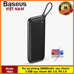 Pin dự phòng thương hiệu Baseus (PPKC) ( Đen) cao cấp dung lượng 20000mAh công nghệ sạc nhanh cổng PD 3.0 sạc 2 chiều và Qualcomm QC 3.0 có màn hình LCD báo dung lượng Pin công suất 18W sạc cho Macbook - Phân phối bởi TopLink