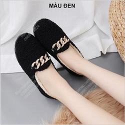 Giày lười bệt nữ với lông giữ nhiệt phù hợp mùa thu, đông, xuân