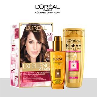 Bộ màu nhuộm Excellence Crème và Bộ Dầu gội-Dầu dưỡng mềm mượt tóc Elseve Extraordinary Oil Ultra Nourishing L Oreal Paris - TULP00642CB thumbnail