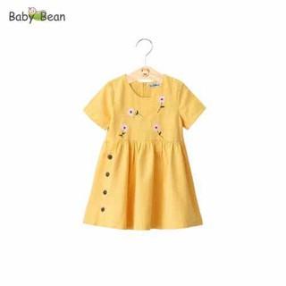 Đầm Linen Thêu Tay đính cúc phá cách bé gái BabyBean