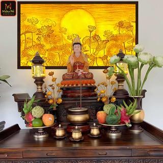 Tranh trúc chỉ in MÂU NI, kích thước 153x107cm, Sen trăng (treo chính giữa ban Thờ, tượng Phật) - tranhtrucchiin83 thumbnail