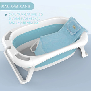 Chậu tắm gấp gọn tặng kèm phao tắm cho trẻ sơ sinh và trẻ nhỏ cao cấp và tiện lợi cho bé kèm phao tắm - 02170002 thumbnail