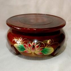 Đôn gỗ tròn khắc nổi hoa sen đặt bàn thờ,kê tượng,bình hoa