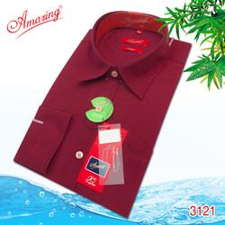 Áo sơ mi nam trơn  Amazing, chuẩn form regular, chất liệu Bamboo, vạt bầu, dài tay, màu đỏ đô