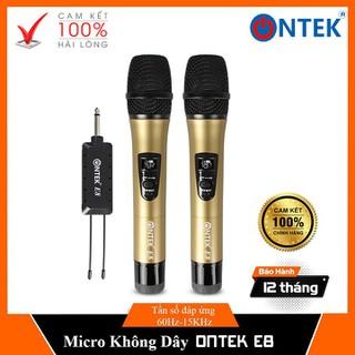 Bộ Micro không dây cao cấp Ontek E8 KARAOKE cho Loa kéo, Amply - gia đình giải trí - BH 12 Tháng - Bộ Micro không dây E8 thumbnail